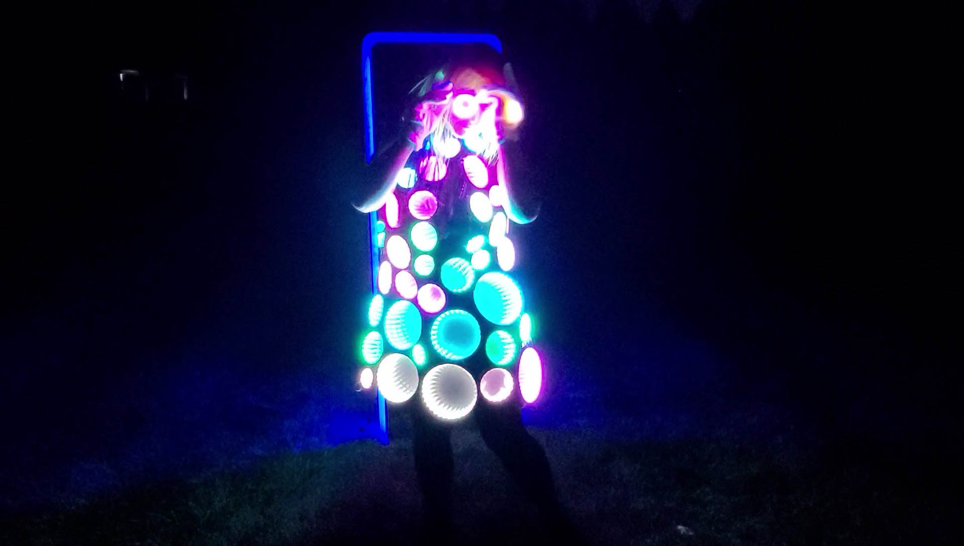 Infinity mirror dress with accessories